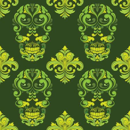 Classic Skull Ornamental Pattern Vector
