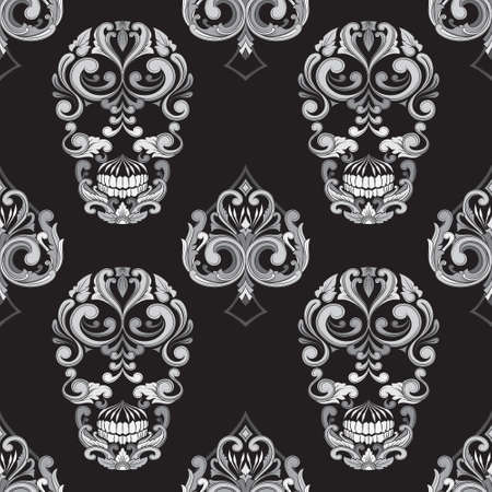 black and white image: Skull and Spades Ornamental Pattern