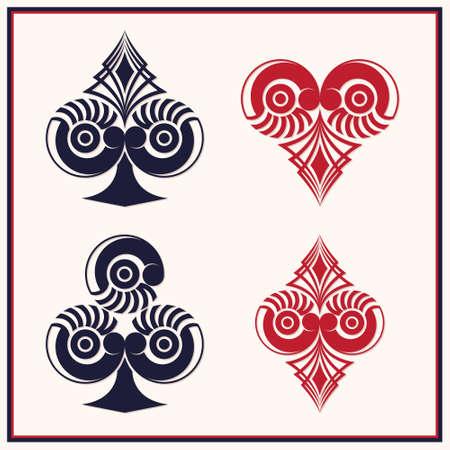 Speelkaart Circle Style Stock Illustratie