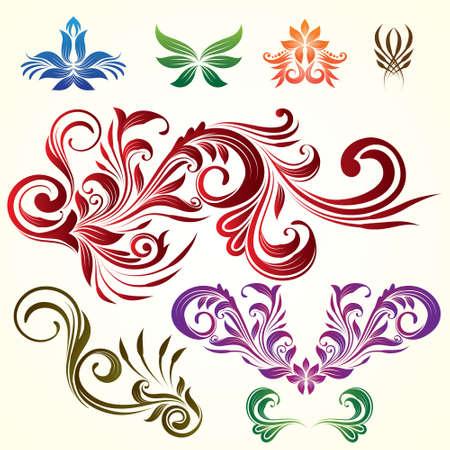 ornamental scroll: Floral Ornamental Elements Illustration
