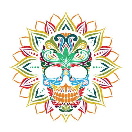 sun flower: Skull and Sun Flower