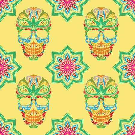 oldened: Skull and Lotus Pattern Illustration