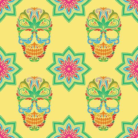 Skull and Lotus Pattern Illustration