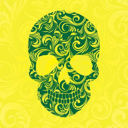 Skul Swirl Yellow Ornamental