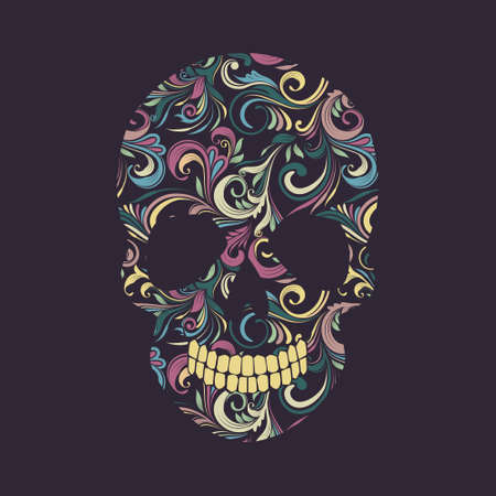 Skull Swirl Ornamental Vector