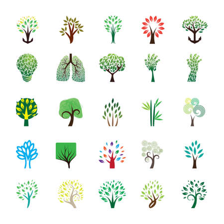 nature one painted: Tree Icon and Logo Set Illustration