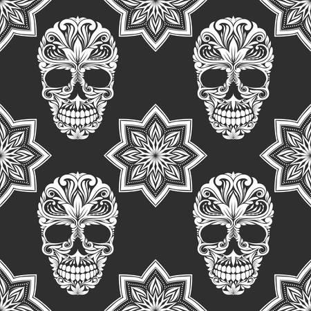 Zwart en grijs Bloem Patroon van de schedel Stock Illustratie