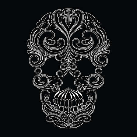 Skull Line Ornament Illustration