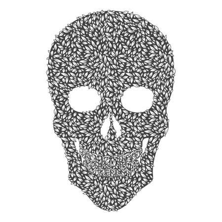 Gray Leaf Skull Illustration