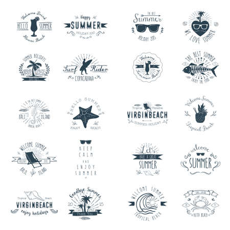 Vintage Badges for Summer season Ilustração