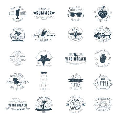 Vintage badges voor Zomerseizoen Stock Illustratie