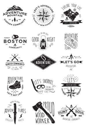 Hand Tekening Adventure Badges Collecties