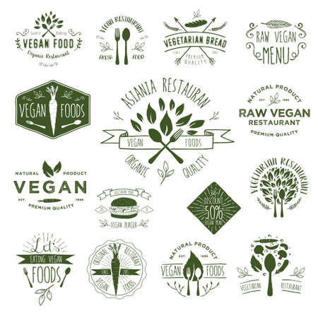 Hand Drawing Vegan Badges Stock Vector - 39291543