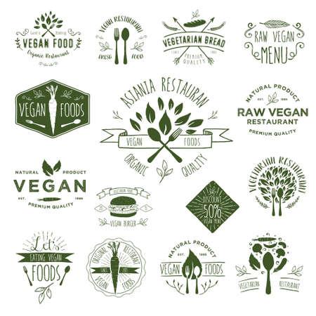 logos restaurantes: Mano de dibujo Vegan Insignias