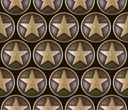 Bronze star seamless pattern on striped background photo