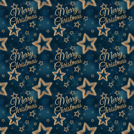 White Merry Christmas on the night stars seamless pattern on the blue background photo