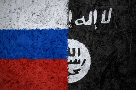 iraq conflict: Russia and Islamic State of Iraq the Levant flags on the concrete texture