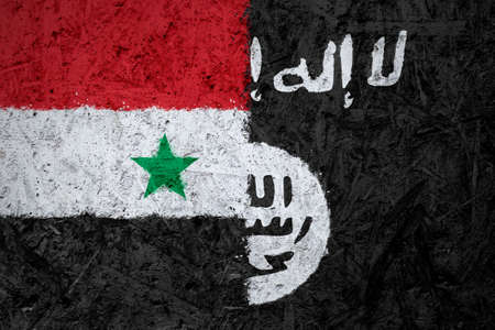 iraq conflict: Syria and Islamic State of Iraq and the Levant flags on the concrete texture Stock Photo