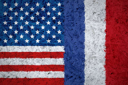 USA and France flags on the concrete texture Banco de Imagens