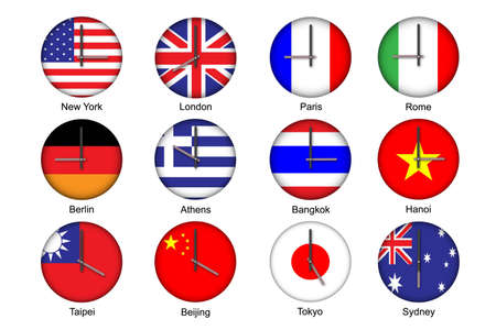 time zone: different time zone on national flag clock
