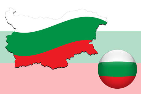 bulgaria: Bulgaria map and glossy ball with flag pattern