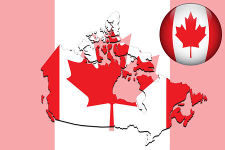 canada flag: Canada map and glossy ball with flag pattern