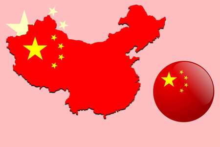 map of china: Chinese map and glossy ball with flag pattern  Illustration