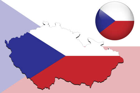 czech flag: Czech Republic map and glossy ball with flag pattern  Illustration