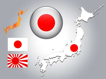 japan flag: Japanese map and glossy ball with flag pattern