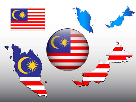 Malaysia map and glossy ball with flag pattern Vector