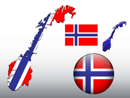 Norway map and glossy ball with flag pattern Vector