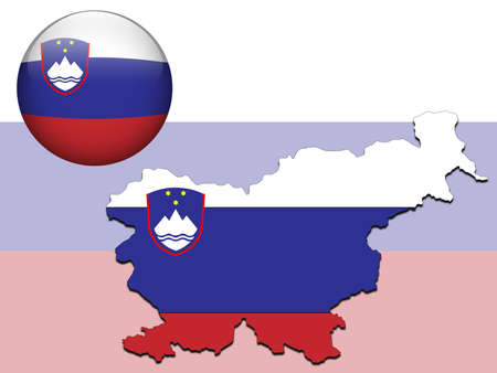 slovenia: Slovenia map and glossy ball with flag pattern