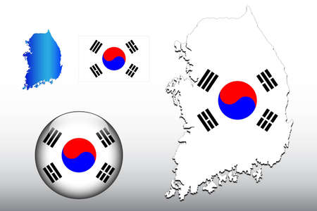 South Korea map and glossy ball with flag pattern