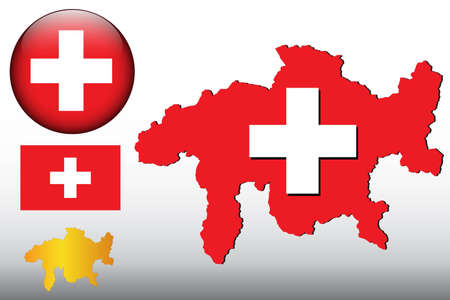 Switzerland map and glossy ball with flag pattern Stock Vector - 10375576