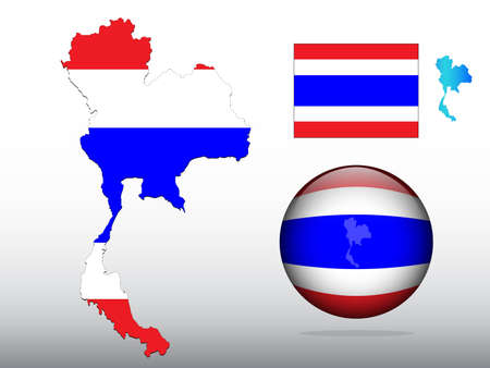 Thailand map and glossy ball with flag pattern Vector
