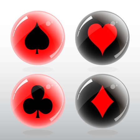 card game: Vector illustration of card symbol in glossy red and black ball