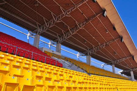 grandstand: Blank stadium under blue sky