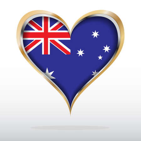 illustration of Australian Flag in Golden Heart Vector