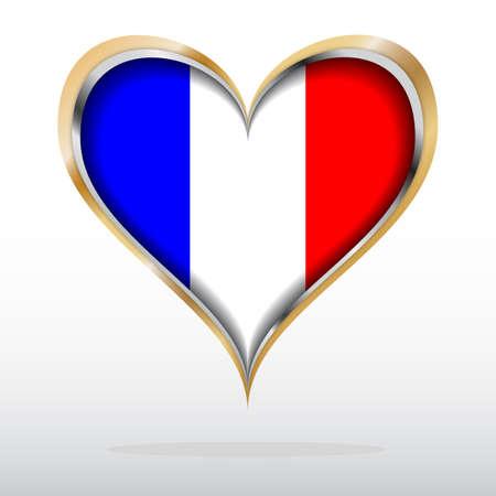 flag of france: illustration of France Flag in Golden Heart