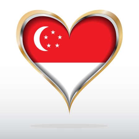 illustration of Singapore Flag in Golden Heart