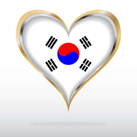 illustration of South Korea Flag in Golden Heart Vector