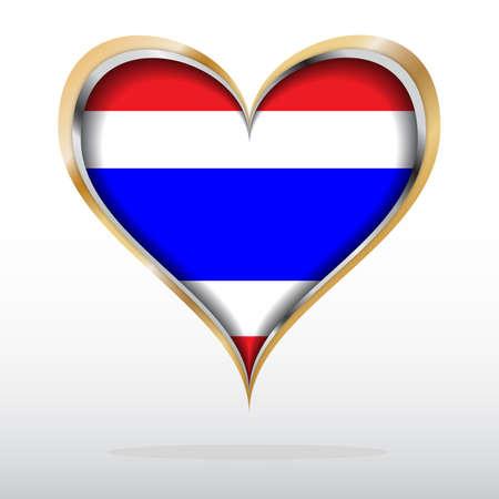 golden heart: illustration of Thai Flag in Golden Heart