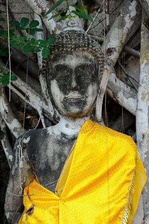 ayuthaya: The ruin image of Buddha in an old temple. Stock Photo