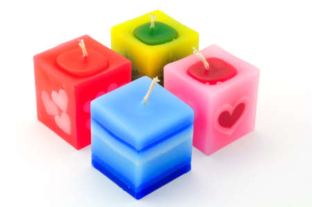 Isolated colorful rectangular candles photo
