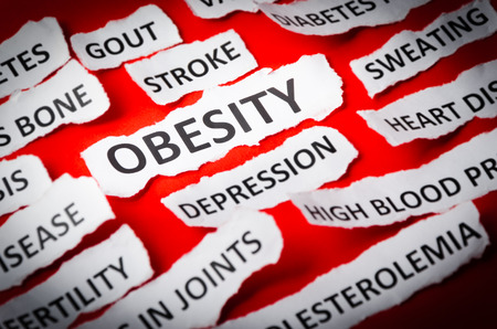 Headlines obesity, heart disease, High blood pressure, diabetes, gout etc Stock Photo
