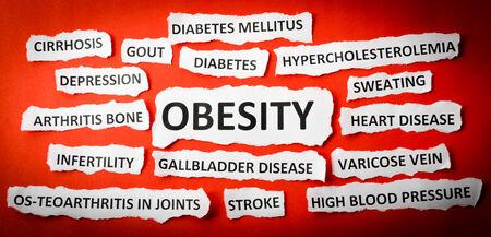 heart disease: Headlines obesity, heart disease, High blood pressure, diabetes, gout etc Stock Photo