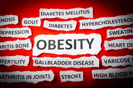 enfermedades del corazon: Titulares de la obesidad, enfermedades del coraz�n, presi�n arterial alta, diabetes, gota, etc Foto de archivo