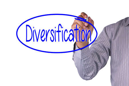 diversification: Business concept handwriting marker and write Diversification isolated on white background Stock Photo