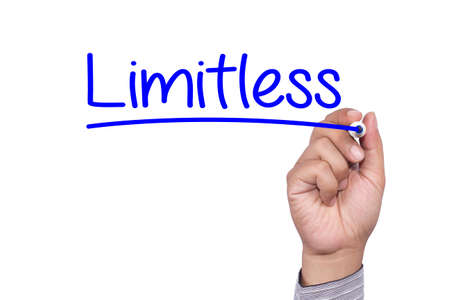 unrestricted: Business concept handwriting marker and write Limitless Preparation isolated on white background