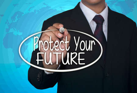 protect: Business concept handwriting marker and write Protect Your Futur over light blue background with world map Stock Photo